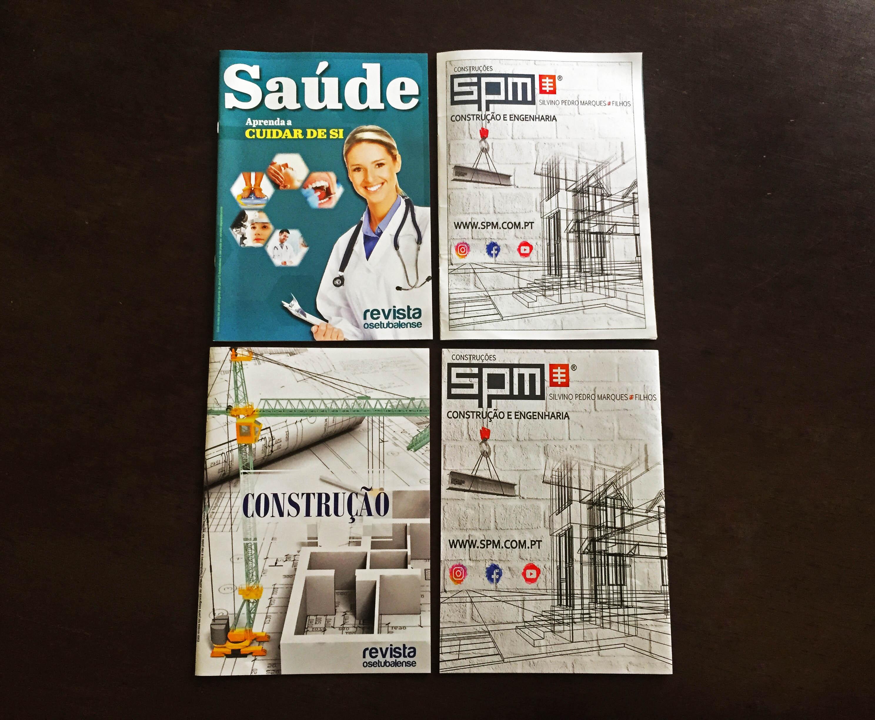 """Duas edições da revista do Setubalense, a revista """"Saúde"""" e """"Construção"""" com a SPM nas contra capas!"""